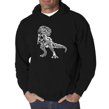 Load image into Gallery viewer, LA Pop Art Men's Word Art Hooded Sweatshirt - Dino Pics