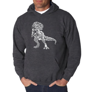 LA Pop Art Men's Word Art Hooded Sweatshirt - Dino Pics