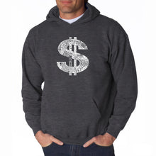 Load image into Gallery viewer, LA Pop Art Men's Word Art Hooded Sweatshirt - Dollar Sign