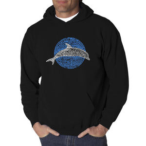 LA Pop Art  Men's Word Art Hooded Sweatshirt - Species of Dolphin