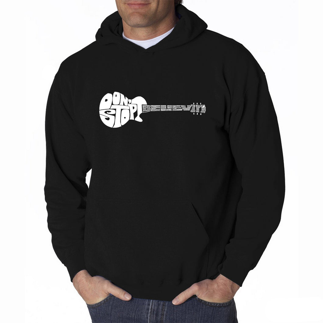 LA Pop Art Men's Word Art Hooded Sweatshirt - Don't Stop Believin'