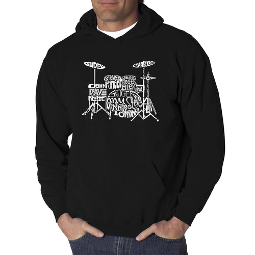 LA Pop Art Men's Word Art Hooded Sweatshirt - Drums