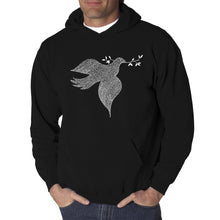Load image into Gallery viewer, LA Pop Art  Men's Word Art Hooded Sweatshirt - Dove