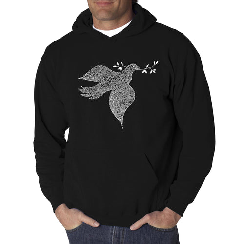 LA Pop Art  Men's Word Art Hooded Sweatshirt - Dove