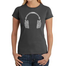 Load image into Gallery viewer, LA Pop Art Women's Word Art T-Shirt - 63 DIFFERENT GENRES OF MUSIC