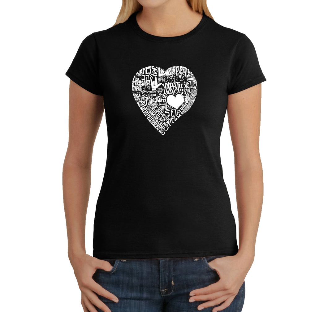 LA Pop Art Women's Word Art T-Shirt - LOVE IN 44 DIFFERENT LANGUAGES