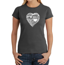 Load image into Gallery viewer, LA Pop Art Women's Word Art T-Shirt - LOVE IN 44 DIFFERENT LANGUAGES