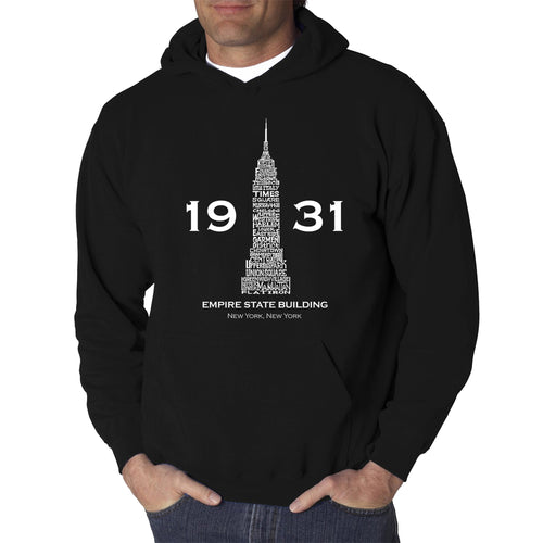LA Pop Art Men's Word Art Hooded Sweatshirt - Empire State Building