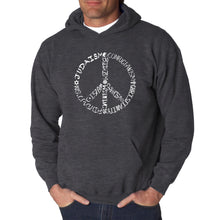 Load image into Gallery viewer, LA Pop Art  Men's Word Art Hooded Sweatshirt - Different Faiths peace sign