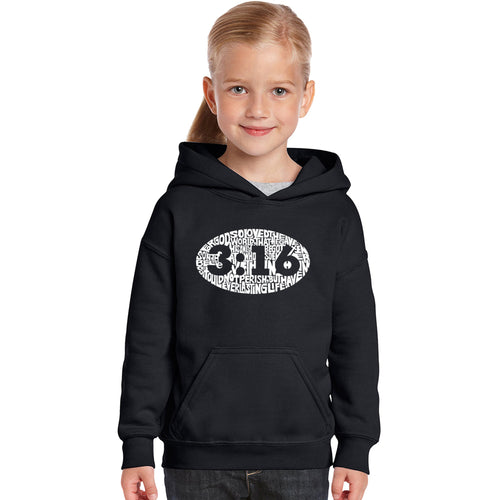 LA Pop Art Girl's Word Art Hooded Sweatshirt - John 3:16