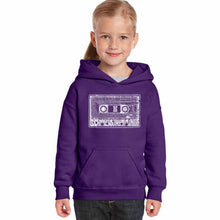Load image into Gallery viewer, LA Pop Art Girl's Word Art Hooded Sweatshirt - The 80's