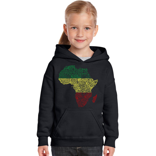 LA Pop Art Girl's Word Art Hooded Sweatshirt - Countries in Africa