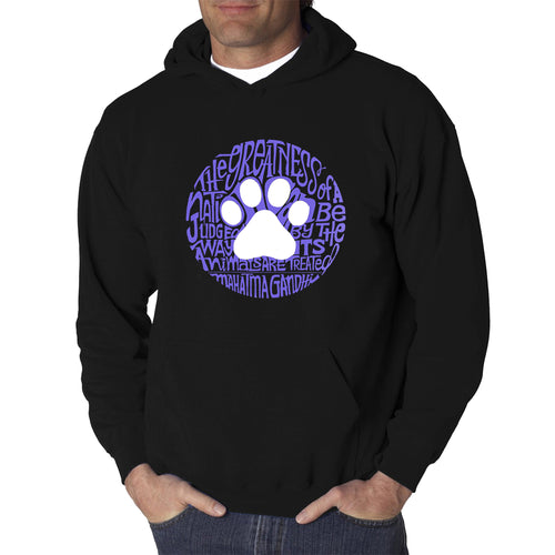 LA Pop Art  Men's Word Art Hooded Sweatshirt - Gandhi's Quote on Animal Treatment