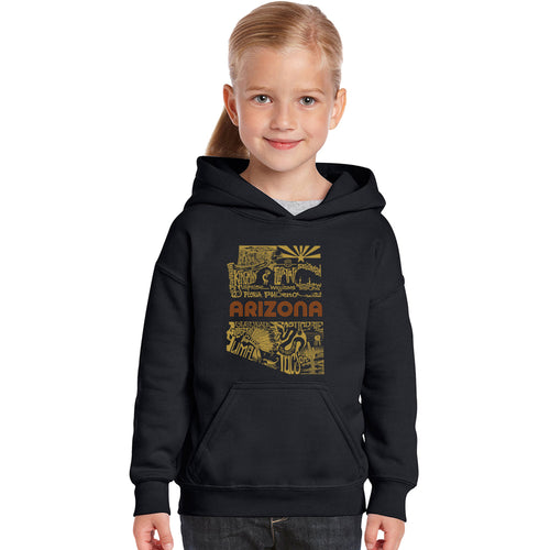 LA Pop Art Girl's Word Art Hooded Sweatshirt - Az Pics