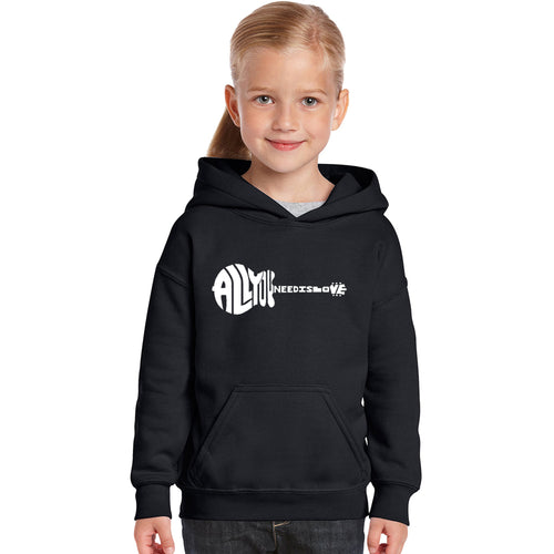 LA Pop Art Girl's Word Art Hooded Sweatshirt - All You Need Is Love