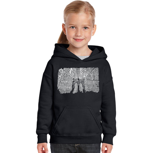 LA Pop Art Girl's Word Art Hooded Sweatshirt - Brooklyn Bridge