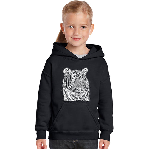 LA Pop Art Girl's Word Art Hooded Sweatshirt - Big Cats
