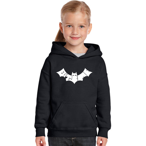 LA Pop Art Girl's Word Art Hooded Sweatshirt - BAT - BITE ME