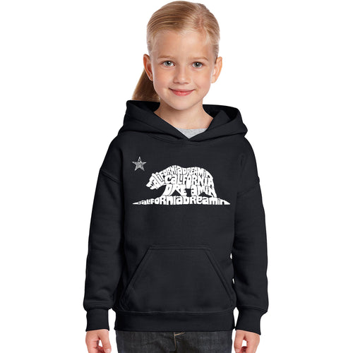 LA Pop Art Girl's Word Art Hooded Sweatshirt - California Dreamin