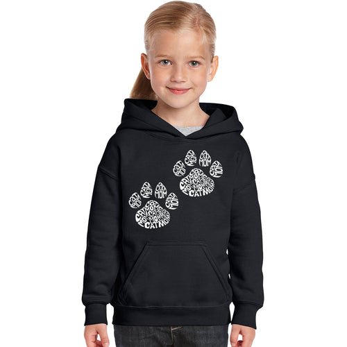 LA Pop Art Girl's Word Art Hooded Sweatshirt - Cat Mom