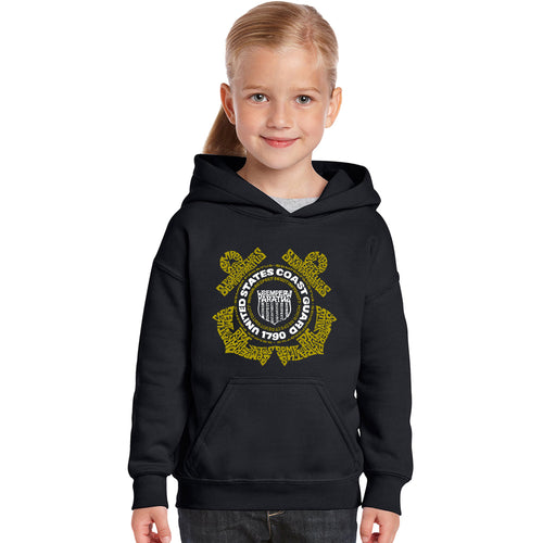 LA Pop Art Girl's Word Art Hooded Sweatshirt - Coast Guard