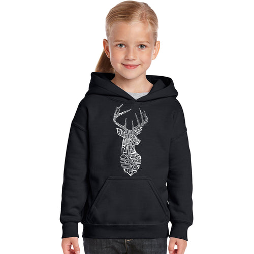 LA Pop Art Girl's Word Art Hooded Sweatshirt - Types of Deer