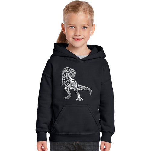 LA Pop Art Girl's Word Art Hooded Sweatshirt - Dino Pics