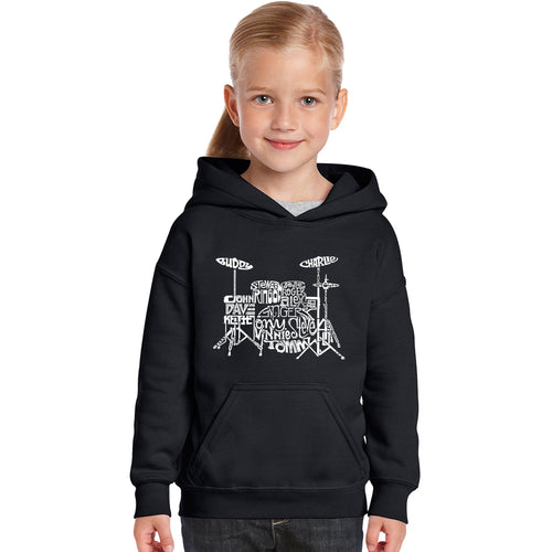 LA Pop Art Girl's Word Art Hooded Sweatshirt - Drums
