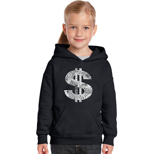 LA Pop Art Girl's Word Art Hooded Sweatshirt - Dollar Sign