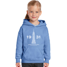 Load image into Gallery viewer, LA Pop Art Girl's Word Art Hooded Sweatshirt - Empire State Building