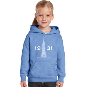 LA Pop Art Girl's Word Art Hooded Sweatshirt - Empire State Building