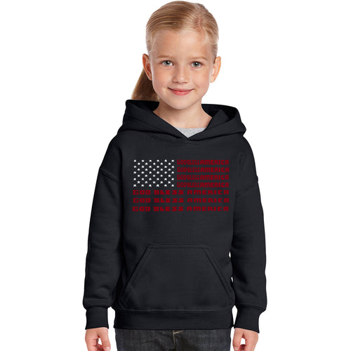 LA Pop Art Girl's Word Art Hooded Sweatshirt - God Bless America