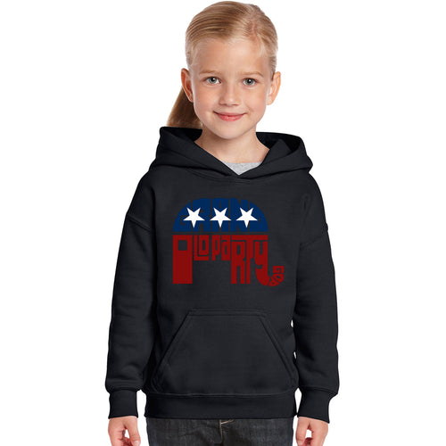 LA Pop Art Girl's Word Art Hooded Sweatshirt - REPUBLICAN - GRAND OLD PARTY