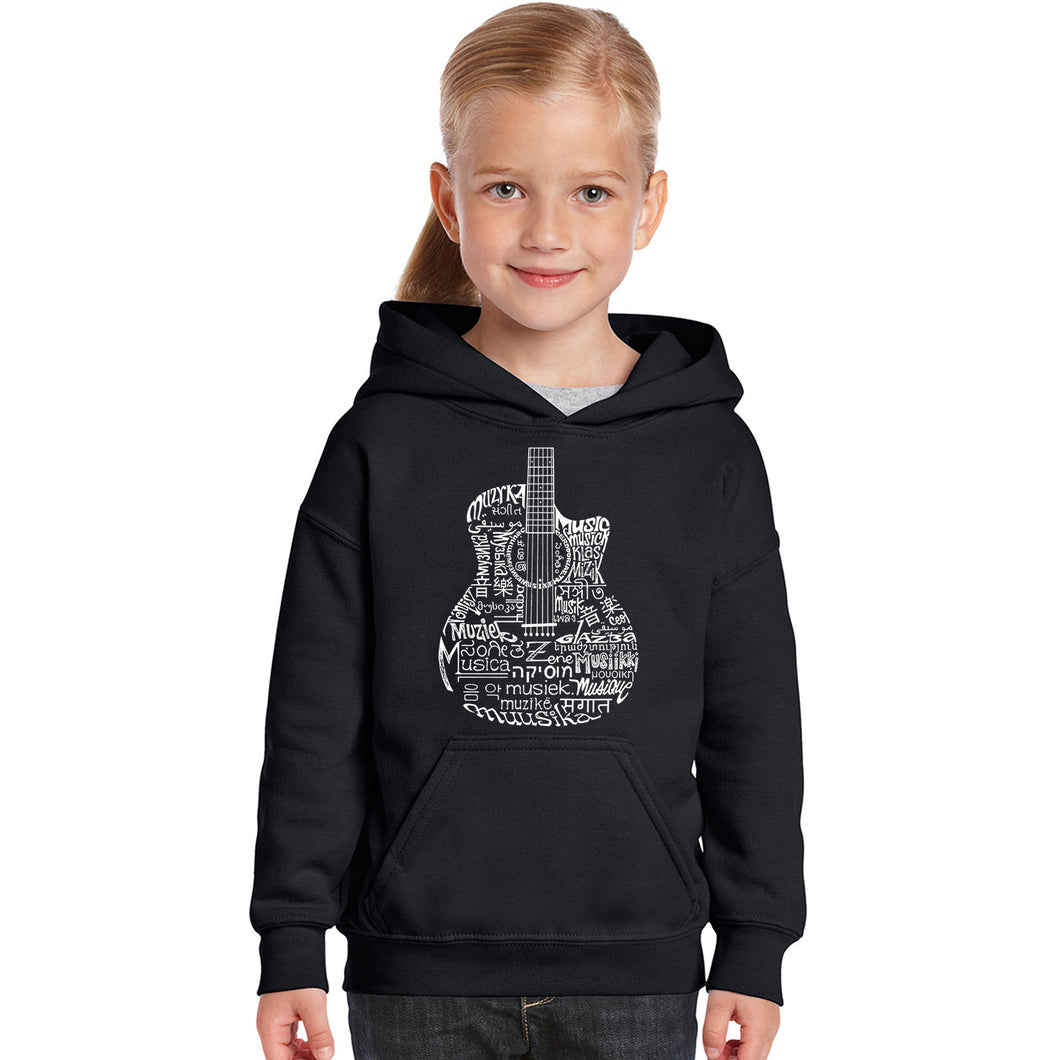 LA Pop Art Girl's Word Art Hooded Sweatshirt - Languages Guitar