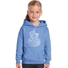 Load image into Gallery viewer, LA Pop Art Girl's Word Art Hooded Sweatshirt - Languages Guitar