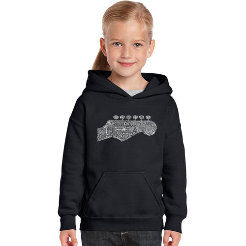 LA Pop Art Girl's Word Art Hooded Sweatshirt - Guitar Head