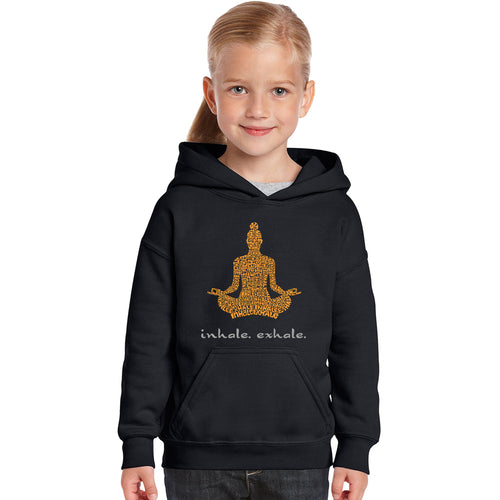 LA Pop Art Girl's Word Art Hooded Sweatshirt - Inhale Exhale