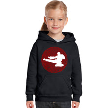 Load image into Gallery viewer, LA Pop Art Girl's Word Art Hooded Sweatshirt - Types of Martial Arts