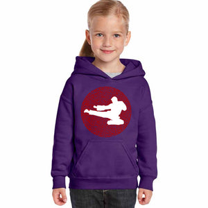 LA Pop Art Girl's Word Art Hooded Sweatshirt - Types of Martial Arts