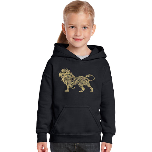 LA Pop Art Girl's Word Art Hooded Sweatshirt - Lion