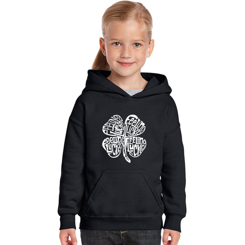 LA Pop Art Girl's Word Art Hooded Sweatshirt - Feeling Lucky