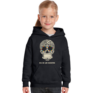 LA Pop Art Girl's Word Art Hooded Sweatshirt - Dia De Los Muertos