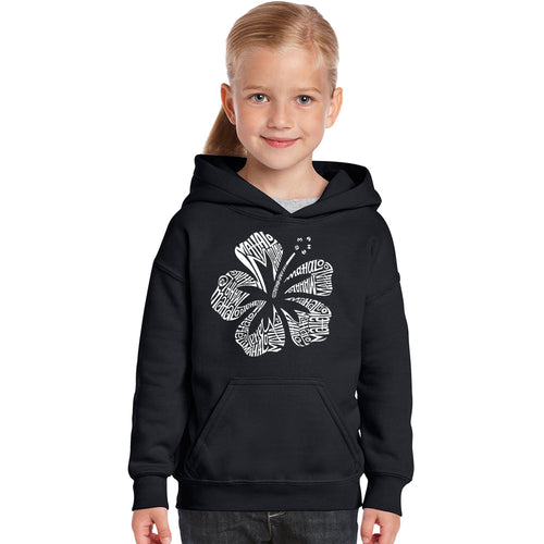 LA Pop Art Girl's Word Art Hooded Sweatshirt - Mahalo