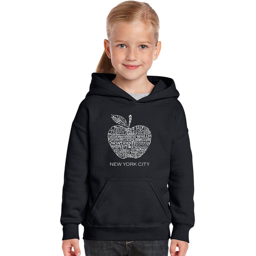 LA Pop Art Girl's Word Art Hooded Sweatshirt - Neighborhoods in NYC