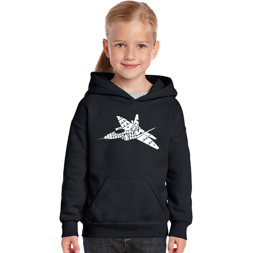 LA Pop Art Girl's Word Art Hooded Sweatshirt - FIGHTER JET - NEED FOR SPEED