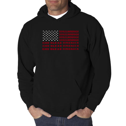 LA Pop Art Men's Word Art Hooded Sweatshirt - God Bless America
