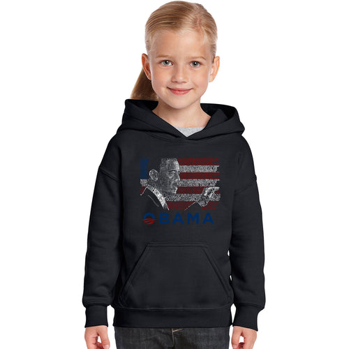LA Pop Art Girl's Word Art Hooded Sweatshirt - BARACK OBAMA - ALL LYRICS TO AMERICA THE BEAUTIFUL