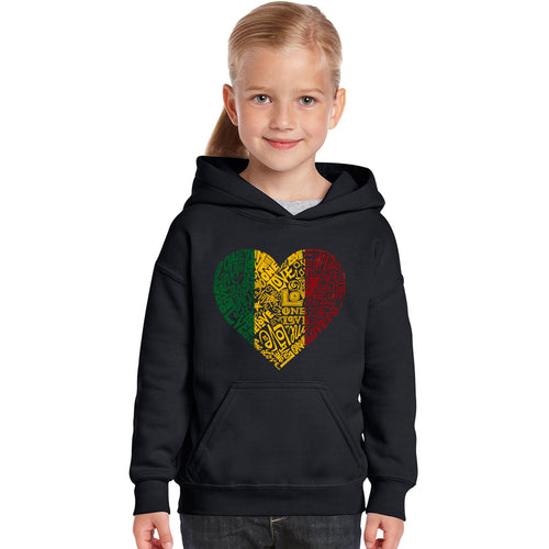 LA Pop Art Girl's Word Art Hooded Sweatshirt - One Love Heart