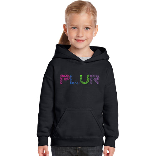 LA Pop Art Girl's Word Art Hooded Sweatshirt - PLUR