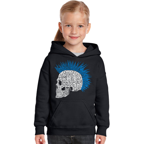 LA Pop Art Girl's Word Art Hooded Sweatshirt - Punk Mohawk